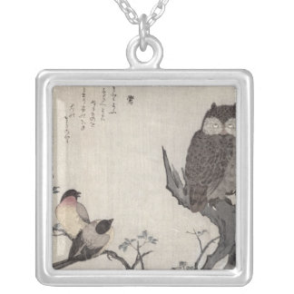 An Owl and two Eastern Bullfinches Silver Plated Necklace