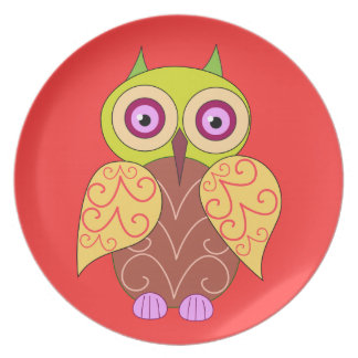 An owl drawing melamine plate