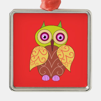 An owl drawing metal ornament