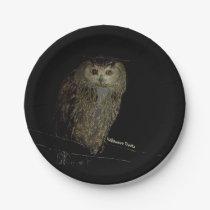 An Owl Offers Halloween Treats Paper Plate