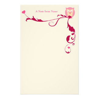 An Owl with Hearts, A Note from Name Stationery Design