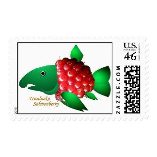 An Unalaska Salmonberry Postage Stamp