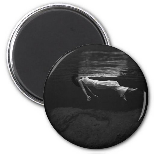 An Underwater View of a Woman Wearing a Long Gown 2 Inch Round Magnet