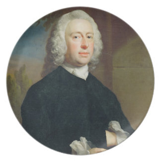 An Unknown Man in Black, 1735 (oil on canvas) Melamine Plate