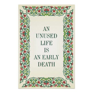 AN UNUSED LIFE IS  AN EARLY DEATH GOETHE QUOTE POSTER