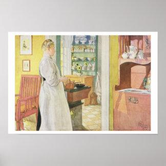 """Ana Arnbom (escena) de la cocina, pub. en """"Lasst L Póster"""