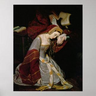 Ana Bolena en la torre, detalle, 1835 Póster