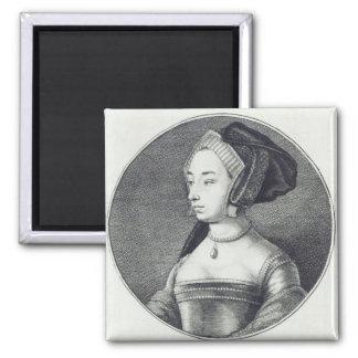 Ana Bolena, grabado al agua fuerte por Wenceslaus  Imán Cuadrado