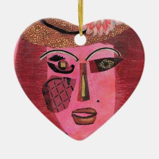 Ana de aguilones verdes adorno navideño de cerámica en forma de corazón