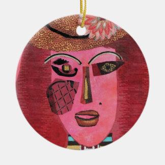 Ana de aguilones verdes adorno navideño redondo de cerámica