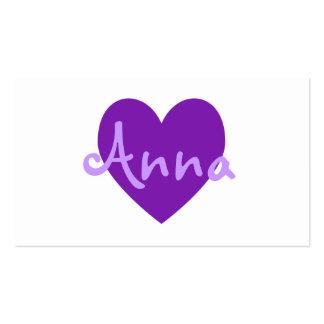 Ana en púrpura tarjetas de visita
