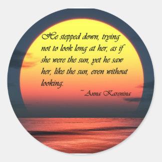 Ana Karenina la vio como la cita del amor de Sun Pegatina Redonda