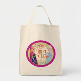 Ana y Elsa con el marco floral Bolsa Tela Para La Compra