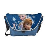 Ana y Elsa con los copos de nieve Bolsas De Mensajería