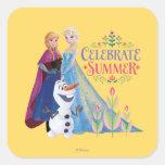 Ana y Elsa el | celebran verano Pegatina Cuadrada