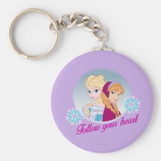Ana y Elsa el   siguen su corazón Llavero Redondo Tipo Pin