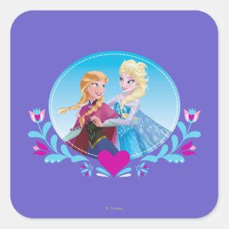 Ana y Elsa - siga su corazón Pegatina Cuadrada