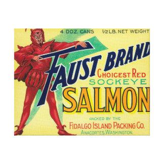 Anacortes, etiqueta del caso de los salmones de Wa Impresión En Lienzo Estirada