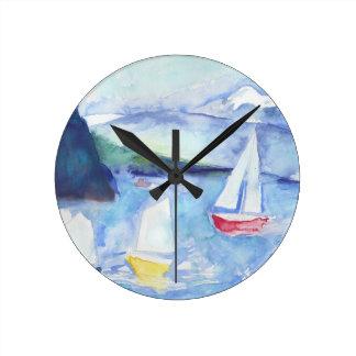Anacortes Sailboats Round Clock