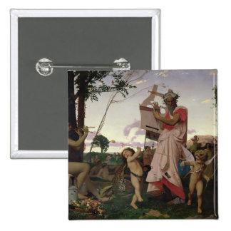 Anacreon, Bacchus y Aphrodite, 1848 Pin Cuadrado