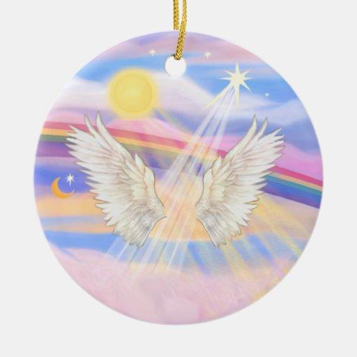 Añada a su propio mascota - puente del arco iris adorno redondo de cerámica