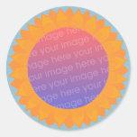 Añada a sus pegatinas de la foto, marco del pegatinas redondas