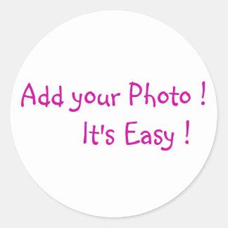 Añada a sus pegatinas de la foto pegatina redonda
