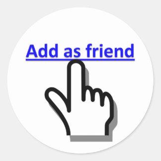 Añada como amigo pegatina redonda