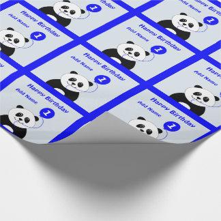 Añada el 1r azul del cumpleaños de la panda papel de regalo
