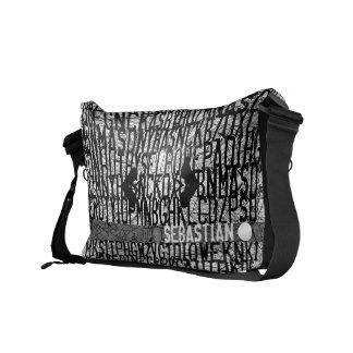 Añada el bolso conocido del negro del código del a bolsa messenger