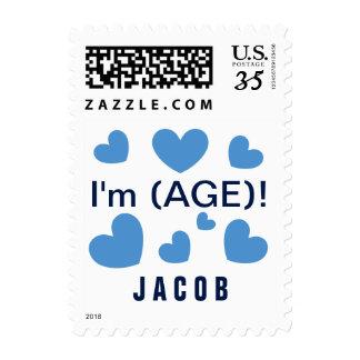 AÑADA el cumpleaños azul lindo F02Z de los niños Timbre Postal