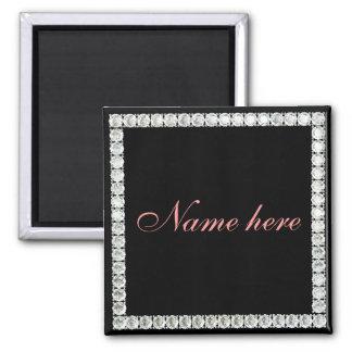 Añada el diamante del nombre-personalizable imán cuadrado