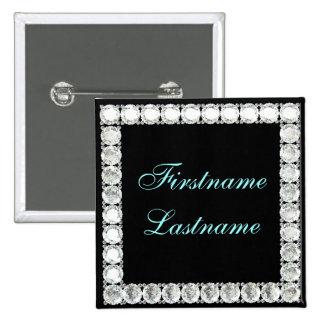Añada el diamante del nombre-personalizable pin cuadrado