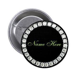 Añada el diamante del nombre-personalizable pin redondo de 2 pulgadas