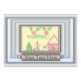 Añada el dibujo del niño con el marco de encargo tarjetas de visita grandes