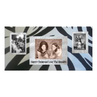 Añada el estampado de zebra de la tarjeta de Navid Tarjetas Fotograficas Personalizadas