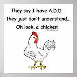 AÑADA el humor del pollo Poster