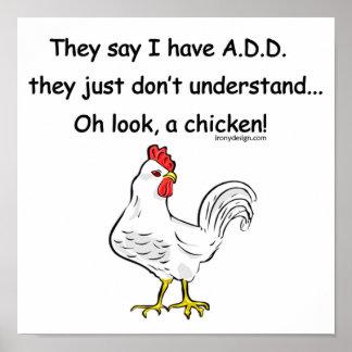 AÑADA el humor del pollo Póster