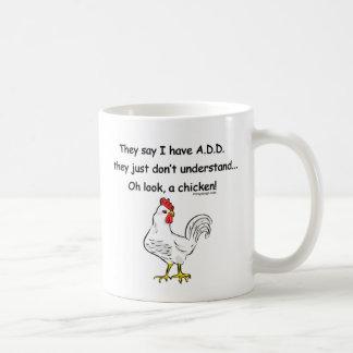 AÑADA el lema del humor del pollo Taza