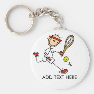 Añada el llavero adaptable del tenis del texto