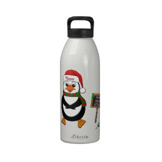 Añada el nombre al pingüino de baile del navidad botella de agua