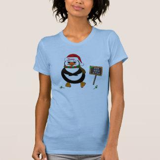 Añada el nombre al pingüino de baile del navidad camiseta