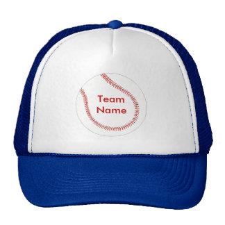 Añada el nombre del equipo, gorras de béisbol de