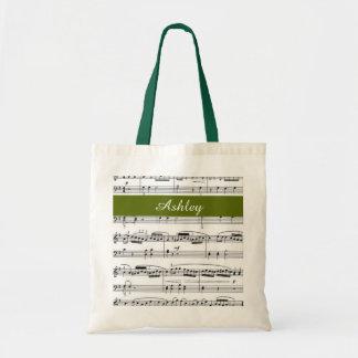 añada el nombre, verde de las notas de la música