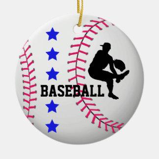 Añada el ornamento del equipo de béisbol de la adorno navideño redondo de cerámica