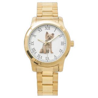 Añada el retrato lindo del perro de la foto de su relojes de pulsera