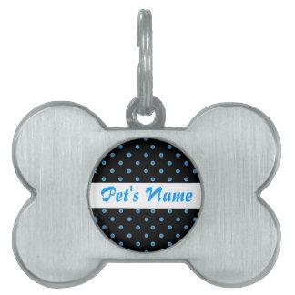 Añada el su nombre de mascota, lunares negros de l placa de nombre de mascota