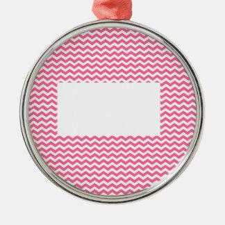 añada el texto o la imagen a este galón rosado adorno redondo plateado