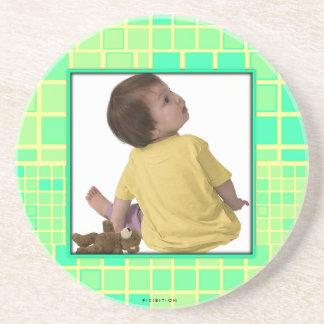 Añada el verde en colores pastel del cuadrado del  posavasos personalizados