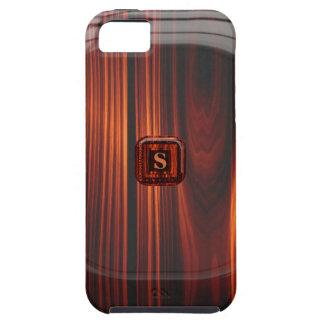 Añada la caja de madera barnizada fresca inicial d iPhone 5 protector